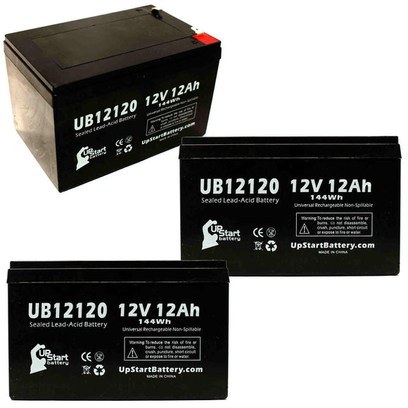 3-Pack UB12120 Sealed Lead Acid Battery Replacement (12V, 12Ah, F1 Terminal, AGM, SLA)
