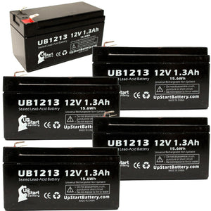 5-Pack UB1213 Sealed Lead Acid Battery Replacement (12V, 1.3Ah, F1 Terminal, AGM, SLA)