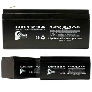3-Pack UB1234 Sealed Lead Acid Battery Replacement (12V, 3.4Ah, F1 Terminal, AGM, SLA)