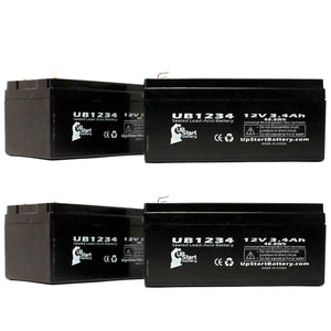 4-Pack UB1234 Sealed Lead Acid Battery Replacement (12V, 3.4Ah, F1 Terminal, AGM, SLA)
