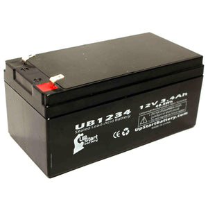 UB1234 Sealed Lead Acid Battery Replacement (12V, 3.4Ah, F1 Terminal, AGM, SLA)