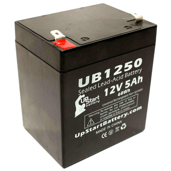 UB1250 Sealed Lead Acid Battery Replacement (12V, 5Ah, 5000mAh, F1 Terminal, AGM, SLA)