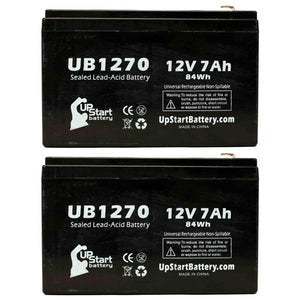 2x Pack - Acme 100-001-0149 Battery - Replacement UB1270 Universal Sealed Lead Acid Battery (12V, 7Ah, 7000mAh, F1 Terminal, AGM, SLA) - Includes 4 F1 to F2 Terminal Adapters