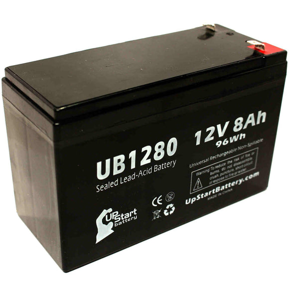 Acme 100-001-0149 Battery - Replacement UB1280 Universal Sealed Lead Acid Battery (12V, 8Ah, 8000mAh, F1 Terminal, AGM, SLA) - Includes TWO F1 to F2 Terminal Adapters
