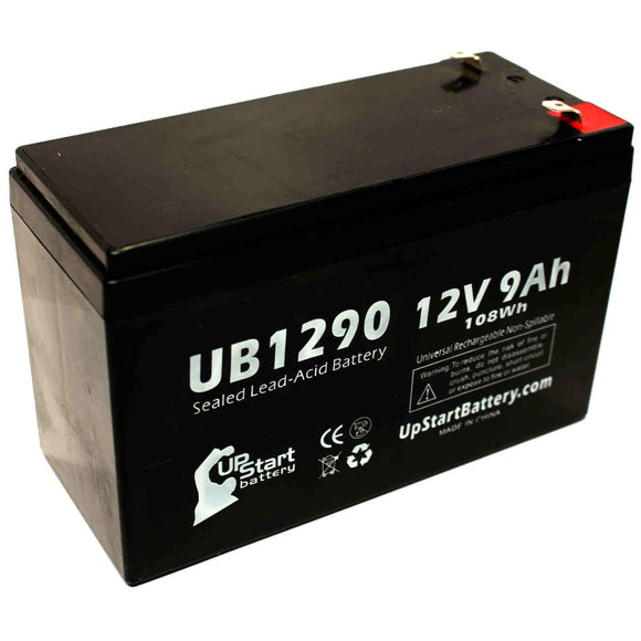 Acme 100-001-0149 Battery - Replacement UB1290 Universal Sealed Lead Acid Battery (12V, 9Ah, 9000mAh, F1 Terminal, AGM, SLA) - Includes TWO F1 to F2 Terminal Adapters