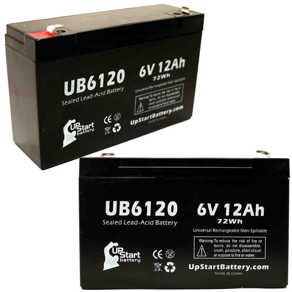2-Pack UB6120 Sealed Lead Acid Battery Replacement (6V, 12Ah, F1 Terminal, AGM, SLA)