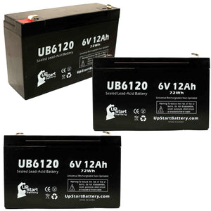 3-Pack UB6120 Sealed Lead Acid Battery Replacement (6V, 12Ah, F1 Terminal, AGM, SLA)