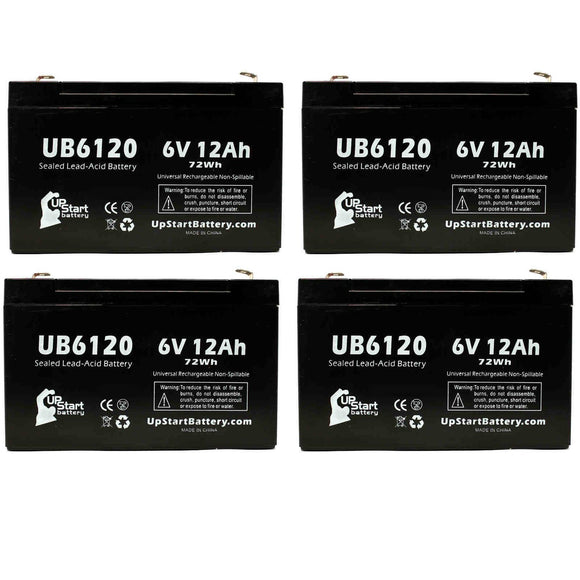 4-Pack UB6120 Sealed Lead Acid Battery Replacement (6V, 12Ah, F1 Terminal, AGM, SLA)