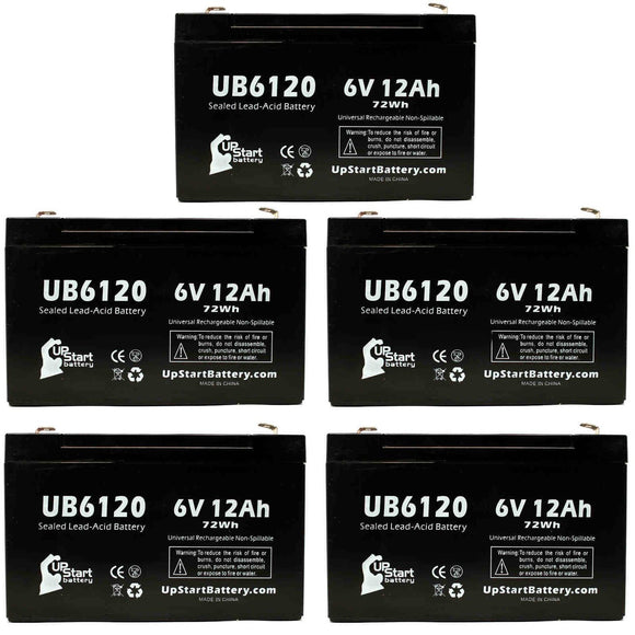 5-Pack UB6120 Sealed Lead Acid Battery Replacement (6V, 12Ah, F1 Terminal, AGM, SLA)