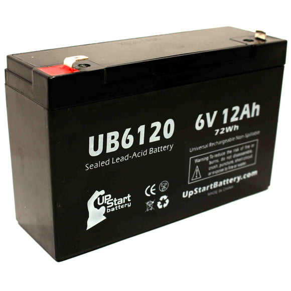 UB6120 Sealed Lead Acid Battery Replacement (6V, 12Ah, F1 Terminal, AGM, SLA)