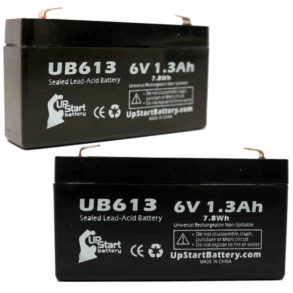 2-Pack UB613 Sealed Lead Acid Battery Replacement (6V, 1.3Ah, F1 Terminal, AGM, SLA)