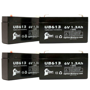 4-Pack UB613 Sealed Lead Acid Battery Replacement (6V, 1.3Ah, F1 Terminal, AGM, SLA)