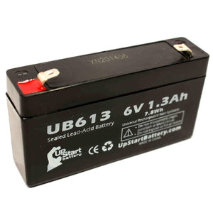 UB613 Sealed Lead Acid Battery Replacement (6V, 1.3Ah, F1 Terminal, AGM, SLA)