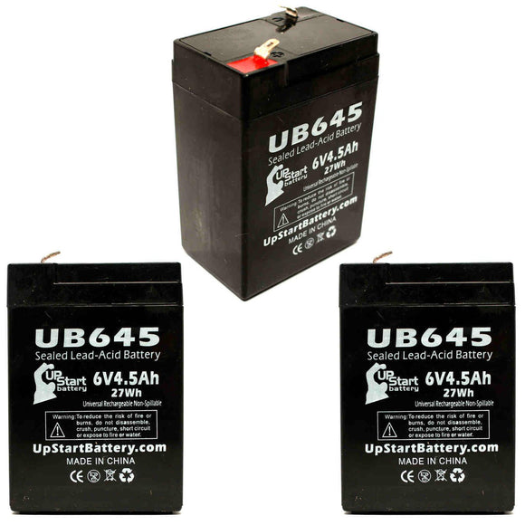 3-Pack UB645 Sealed Lead Acid Battery Replacement (6V, 4.5Ah, F1 Terminal, AGM, SLA)