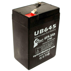 UB645 Sealed Lead Acid Battery Replacement (6V, 4.5Ah, F1 Terminal, AGM, SLA)