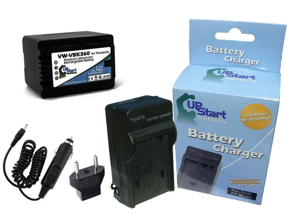Panasonic VW-VBK180 Battery and Charger with Car Plug and EU Adapter - High Capacity