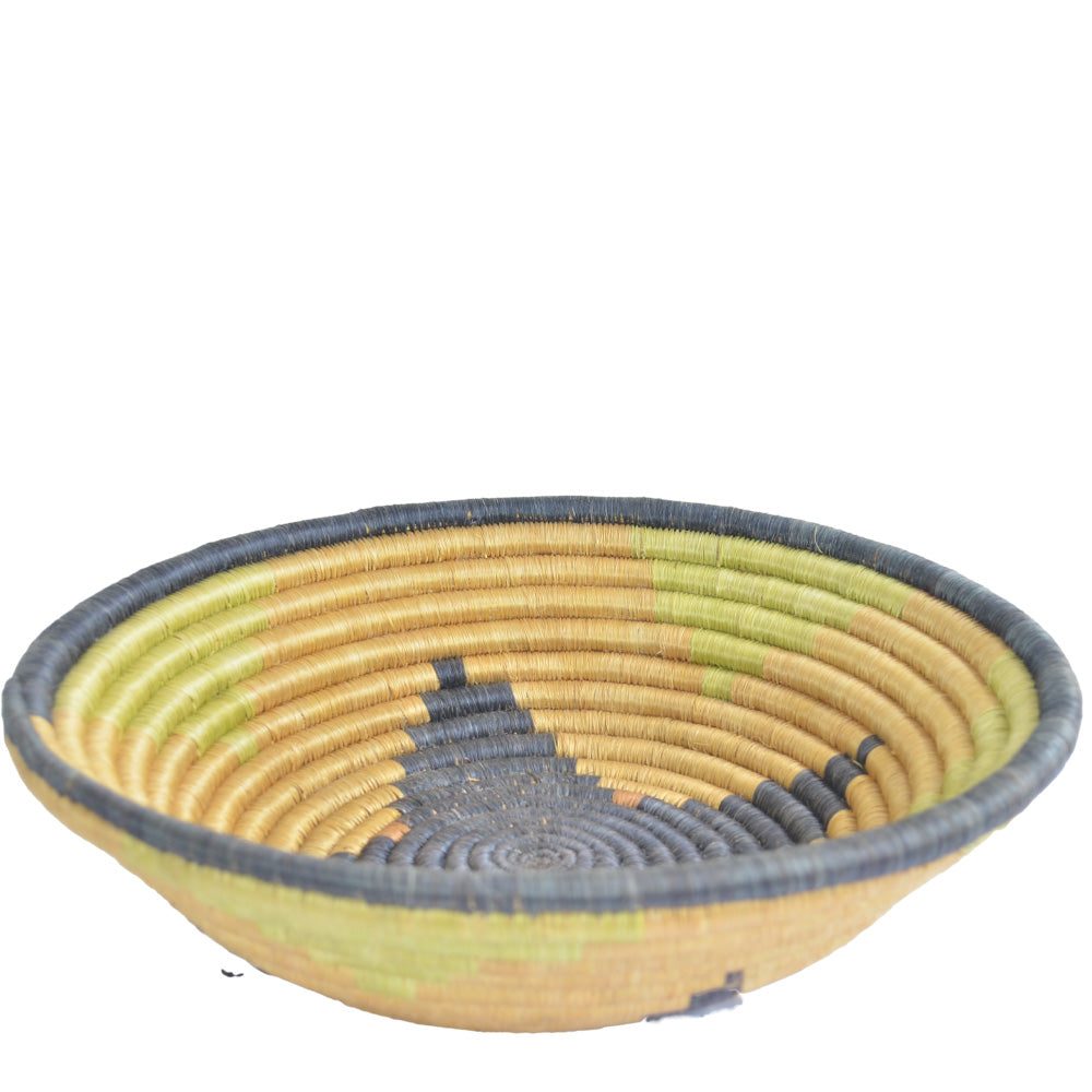 Hand-woven African Basket/Wall art -LARGE-Beige Black Green