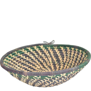 Hand-woven African Basket/Wall art-XLARGE-Black Green Natural line