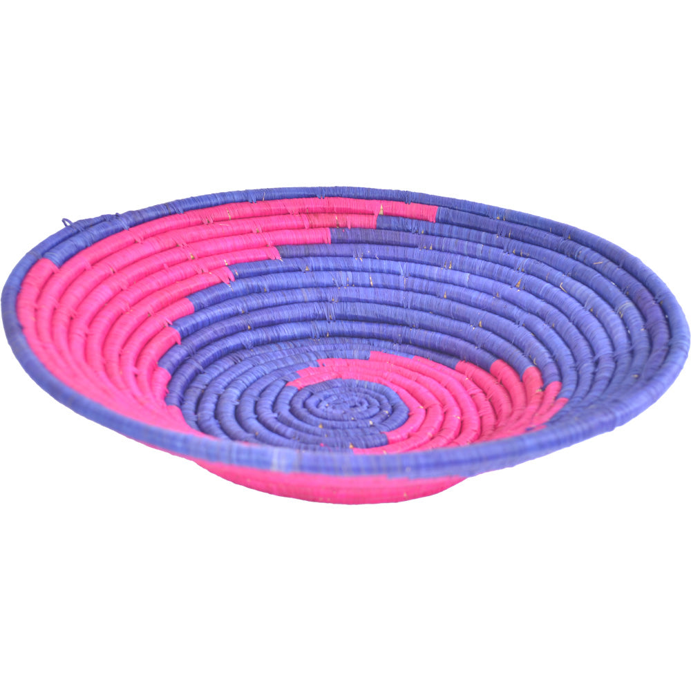 Hand-woven African Basket/Wall art -LARGE-Blue Pink