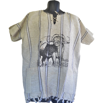 Handmade cotton shirt Large (Buffalo, Thick white lines)