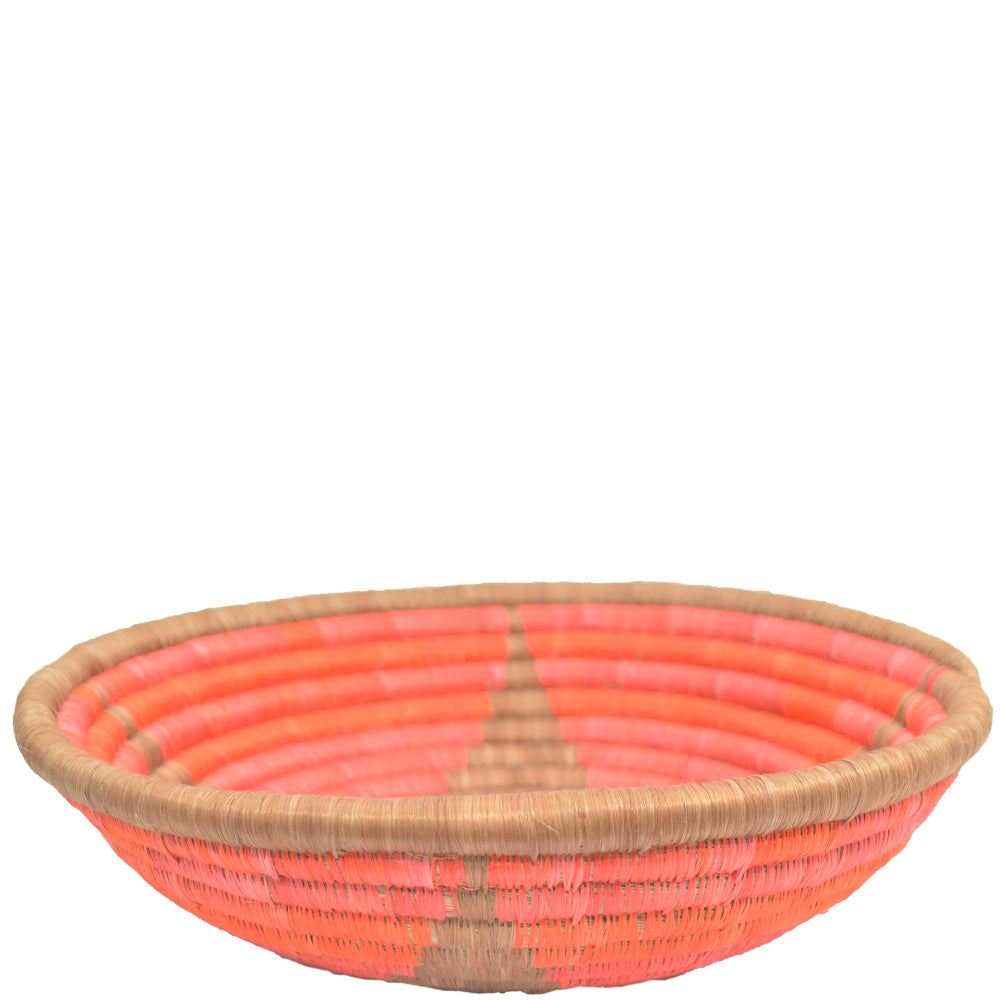 Hand-woven African Basket/Wall art-LARGE-Gold star Salmon Pink