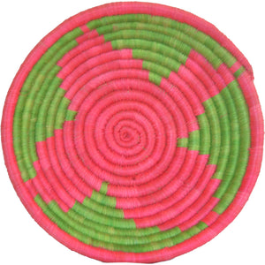 Hand-woven African Basket/Wall art -MEDIUM-Green Pink
