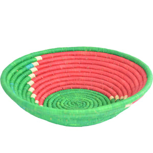 Hand-woven African Basket/Wall art -LARGE-Green Red