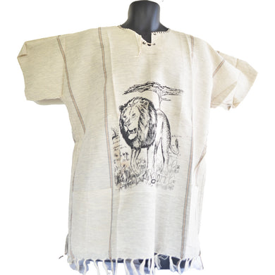 Handmade cotton shirt (Lion with light Brown lines)
