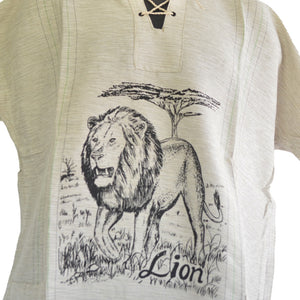 Handmade cotton shirt (Lion with thin Green lines)