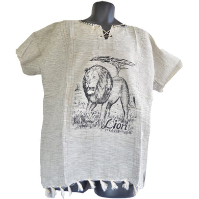 Handmade cotton shirt (Lion with thin lines)