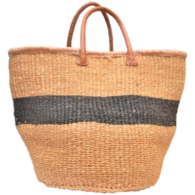 African large Market bag-Beach bag-woven bag (Natural and Black)