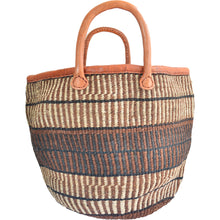 Load image into Gallery viewer, African large Market bag-Beach bag-woven bag, tote bag (Black, Natural and Brown speckled)