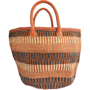 African large Market bag-Beach bag-woven bag, tote bag (Black, Natural and Brown speckled)