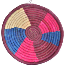 Load image into Gallery viewer, Hand-woven Fairtrade Basket/Wall art-MEDIUM-Maroon Pink Blue Natural