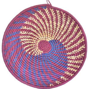 Hand-woven African Basket/Wall art-LARGE-Maroon Natural Blue lines