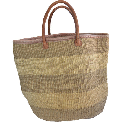 African Extra large Market bag-Beach bag-woven bag, tote bag (Natural and light Brown)