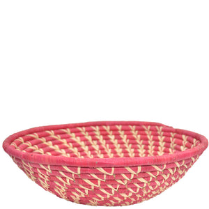 Hand-woven Fairtrade Basket/Wall art-LARGE-Red Natural spiral