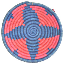Load image into Gallery viewer, Woven African Basket/Wall art -MEDIUM- Blue Red