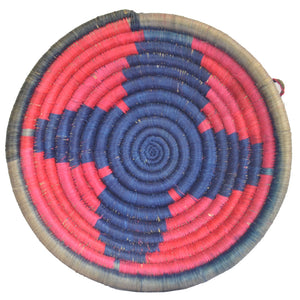 Woven African Basket/Wall art -MEDIUM- Blue Red