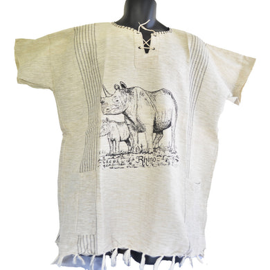 Handmade cotton shirt (Rhino with Grey lines, light colour)