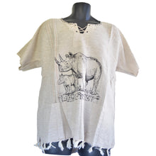 Load image into Gallery viewer, Handmade cotton shirt (Rhino with thin lines)