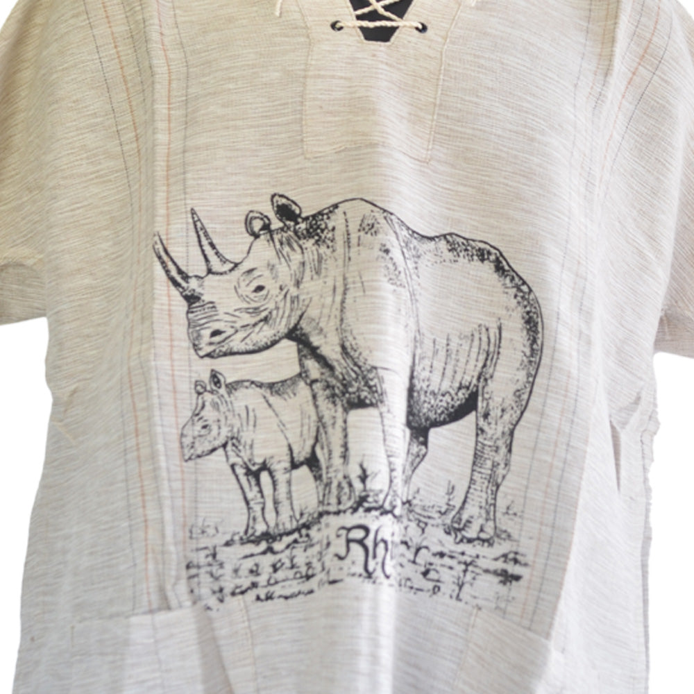 Handmade cotton shirt (Rhino with thin lines)