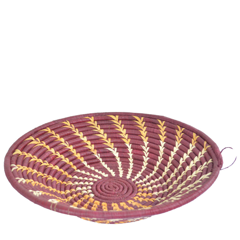 Hand-woven African Basket/Wall art -LARGE- Spiral Red White