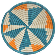 Load image into Gallery viewer, Hand-woven Fairtrade Basket/Wall art-LARGE-Teal, Orange and White