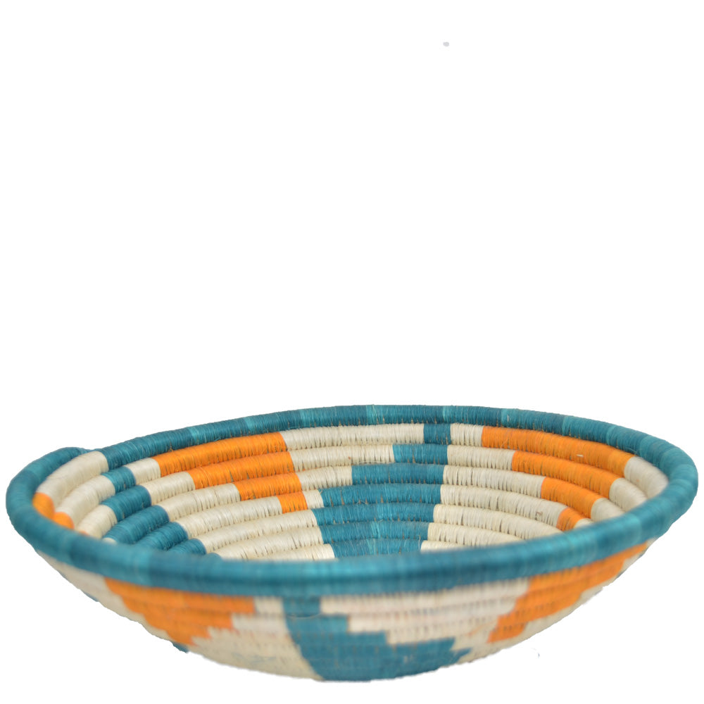 Hand-woven Fairtrade Basket/Wall art-LARGE-Teal, Orange and White