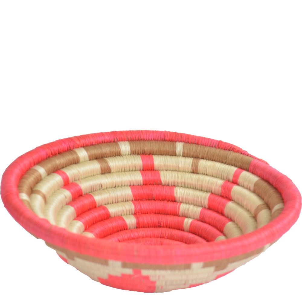 Woven African Basket/Wall art -MEDIUM- White Pink
