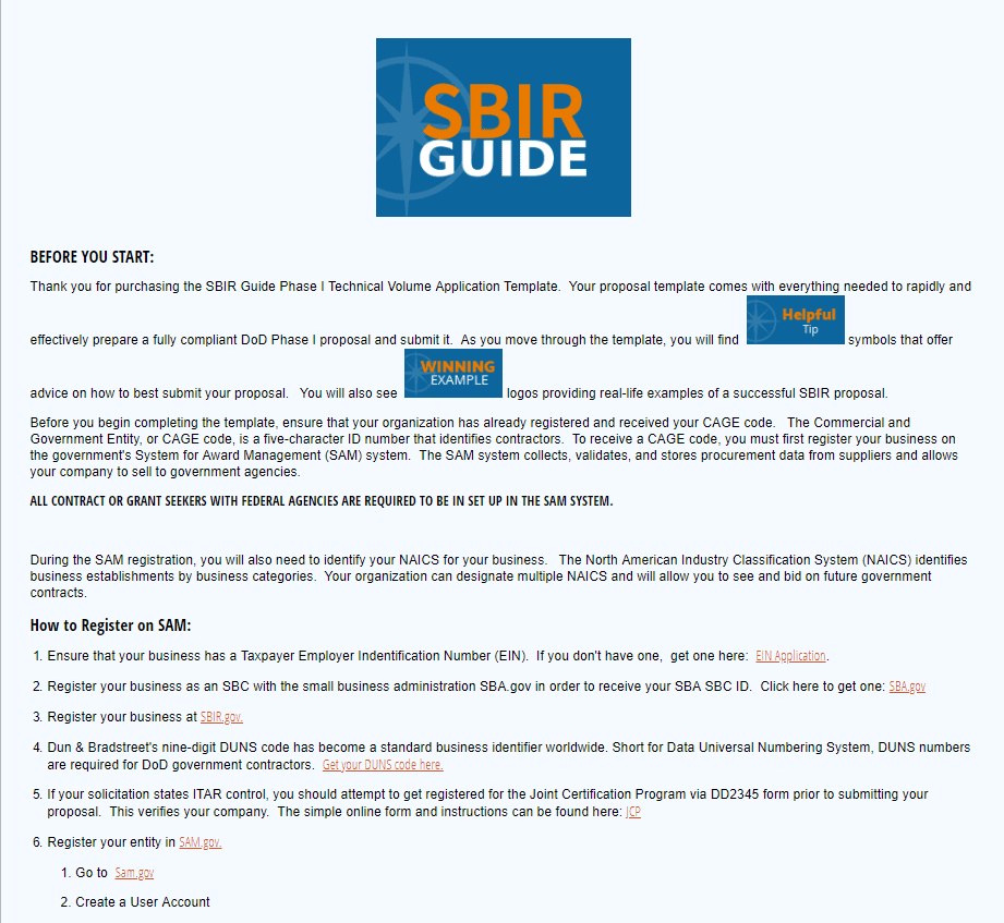 2019 DoD SBIR Phase I Proposal Creator - SBIR Guide