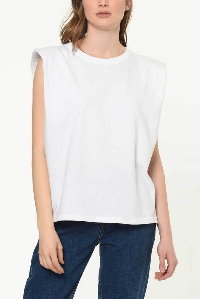Feliz Padded Shoulder White T-shirt