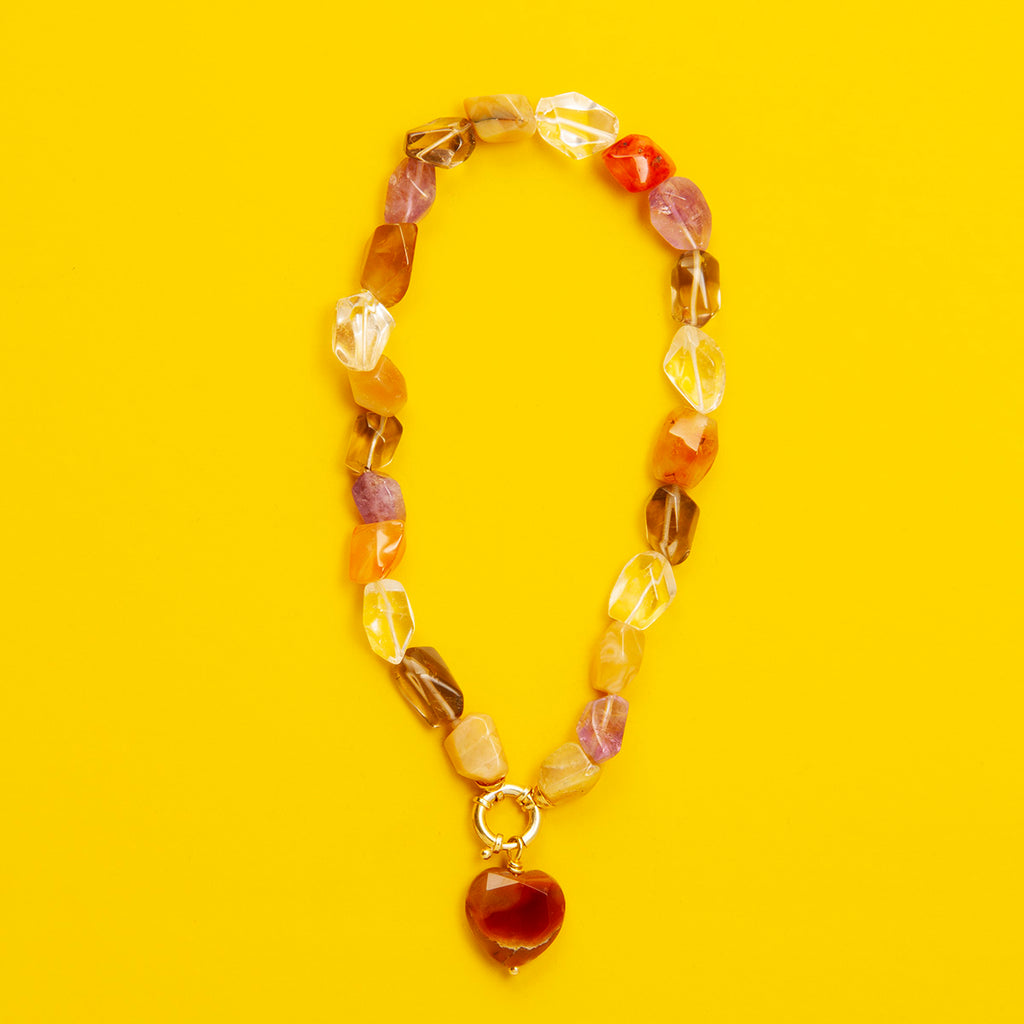 Mary Gem Stone Necklace