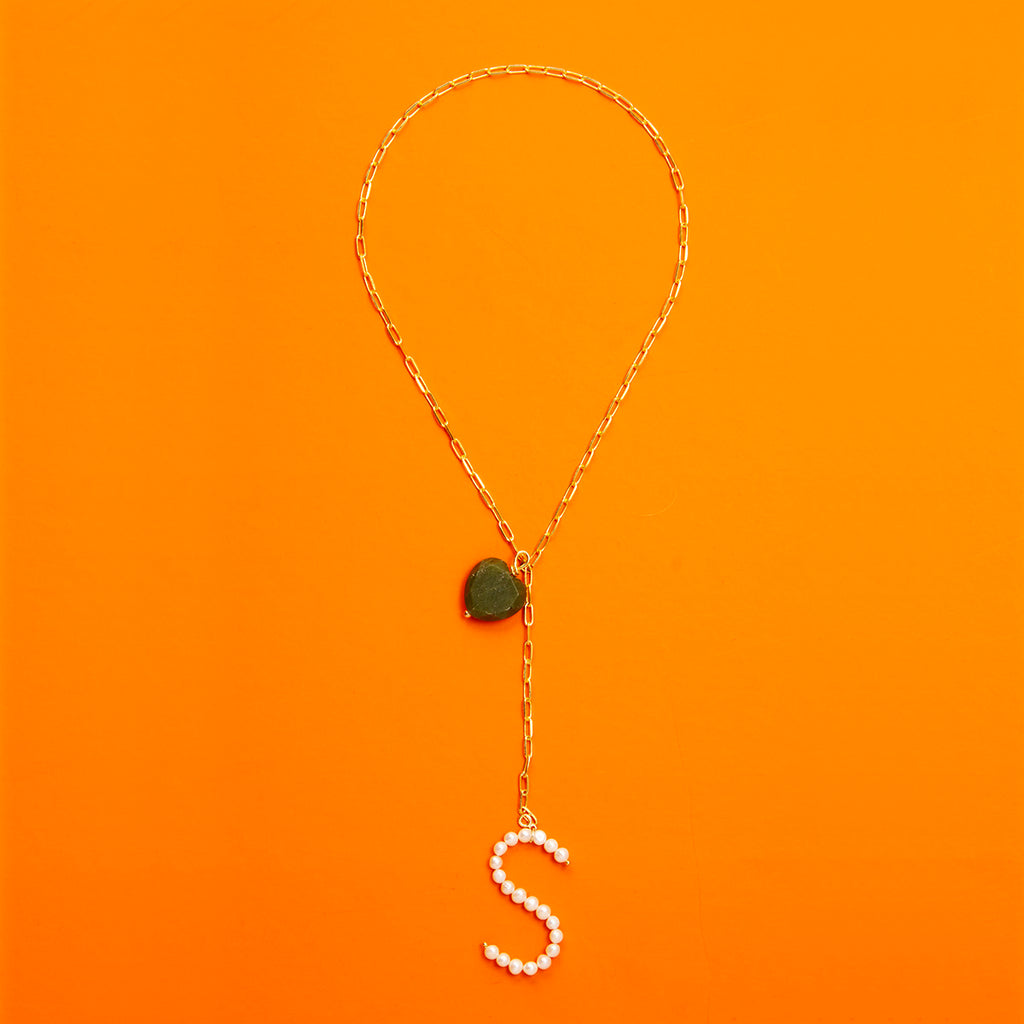 Gold Plated Necklace with Pearl Letter & Heart-shaped Pearl Pendant